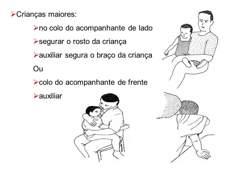 Crianças maiores: no colo do acompanhante de lado. segurar o rosto da criança. auxiliar segura o braço da criança.