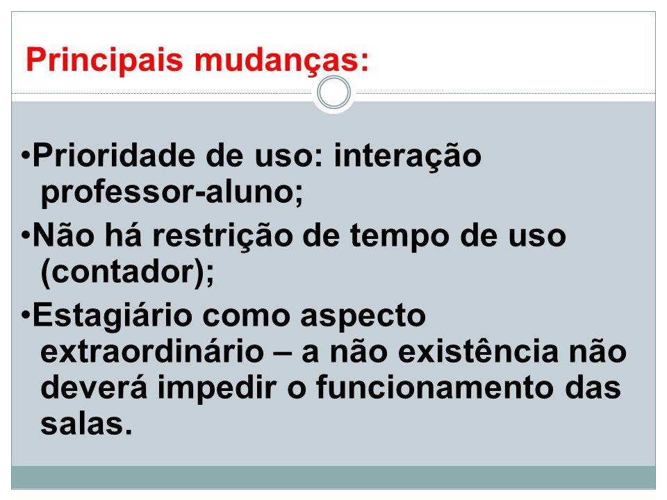 Principais mudanças: •Prioridade de uso: interação professor-aluno; •Não há restrição de tempo de uso (contador);