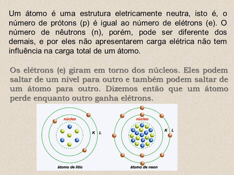 Um átomo é uma estrutura eletricamente neutra, isto é, o número de prótons (p) é igual ao número de elétrons (e). O número de nêutrons (n), porém, pode ser diferente dos demais, e por eles não apresentarem carga elétrica não tem influência na carga total de um átomo.