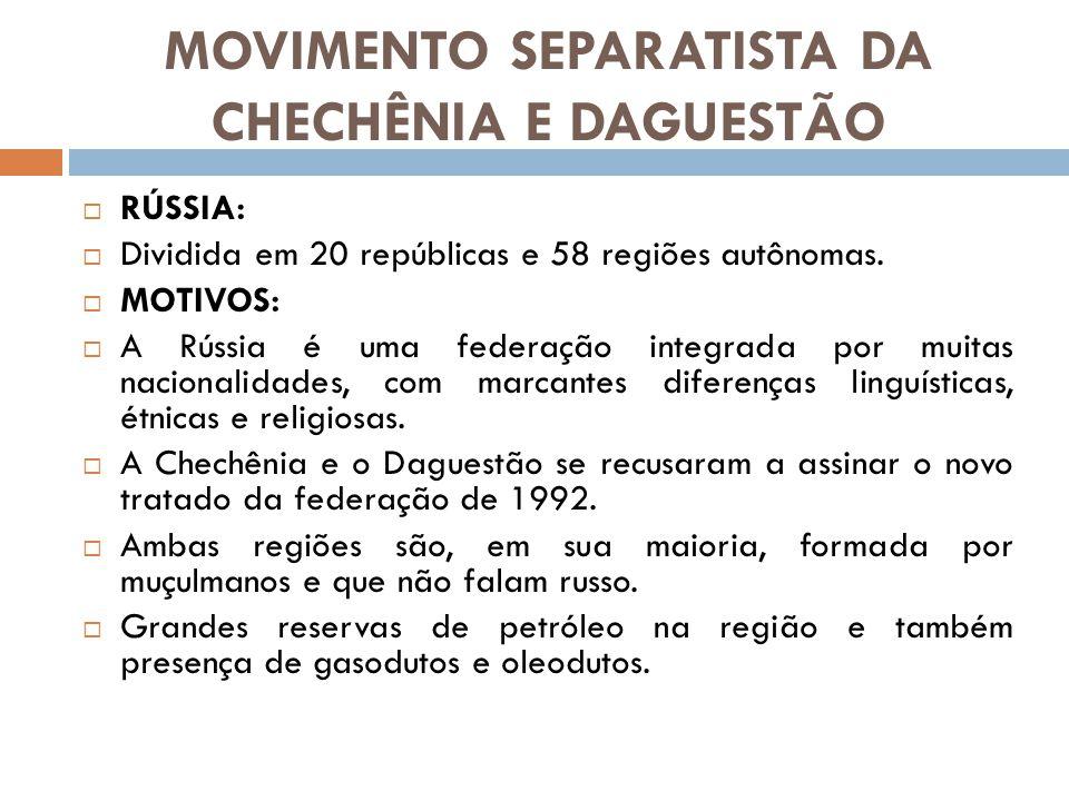 MOVIMENTO SEPARATISTA DA CHECHÊNIA E DAGUESTÃO