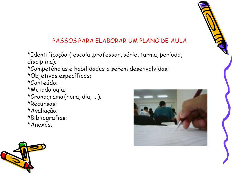 PASSOS PARA ELABORAR UM PLANO DE AULA