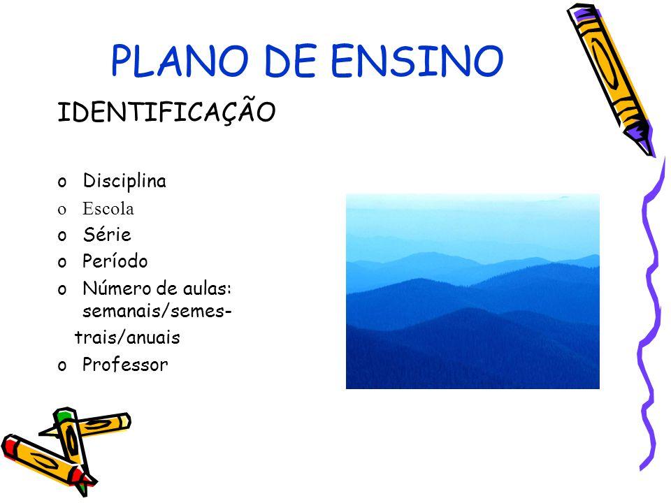 PLANO DE ENSINO IDENTIFICAÇÃO Disciplina Escola Série Período
