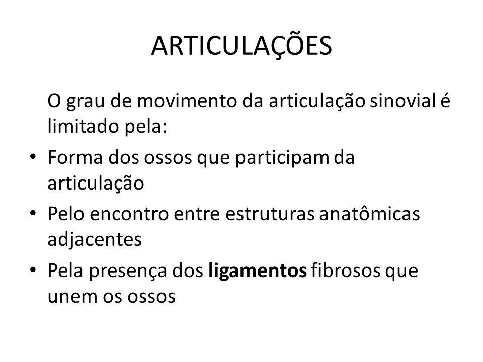 ARTICULAÇÕES O grau de movimento da articulação sinovial é limitado pela: Forma dos ossos que participam da articulação.