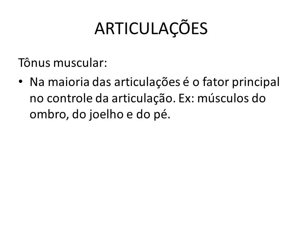 ARTICULAÇÕES Tônus muscular: