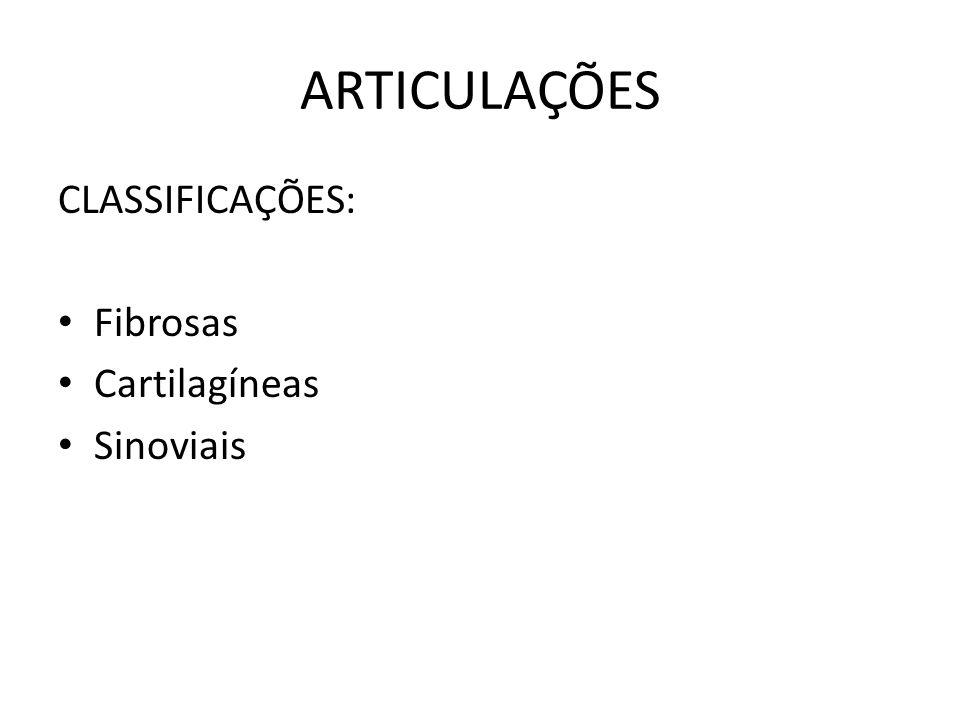 ARTICULAÇÕES CLASSIFICAÇÕES: Fibrosas Cartilagíneas Sinoviais