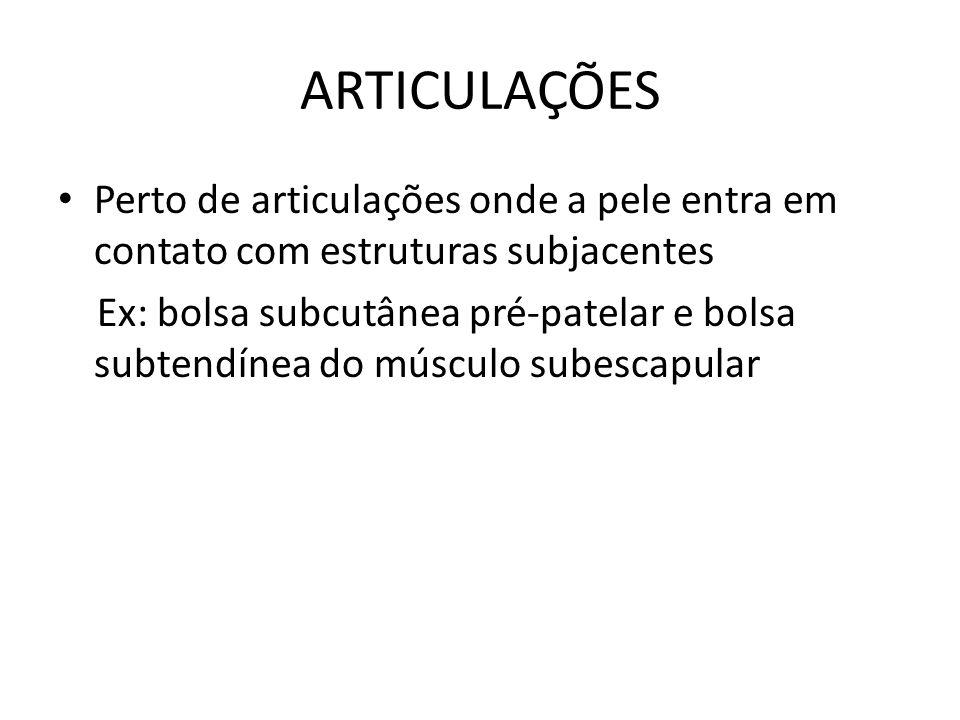 ARTICULAÇÕES Perto de articulações onde a pele entra em contato com estruturas subjacentes.