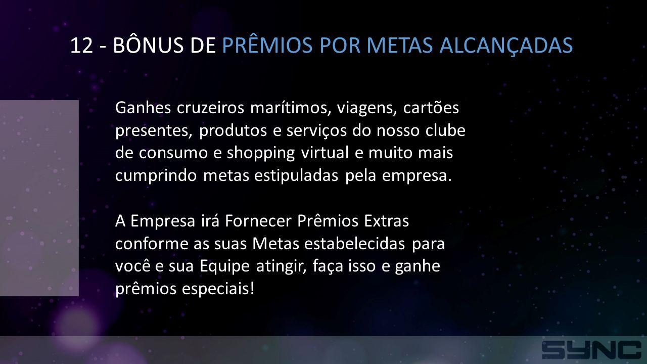 12 - BÔNUS DE PRÊMIOS POR METAS ALCANÇADAS