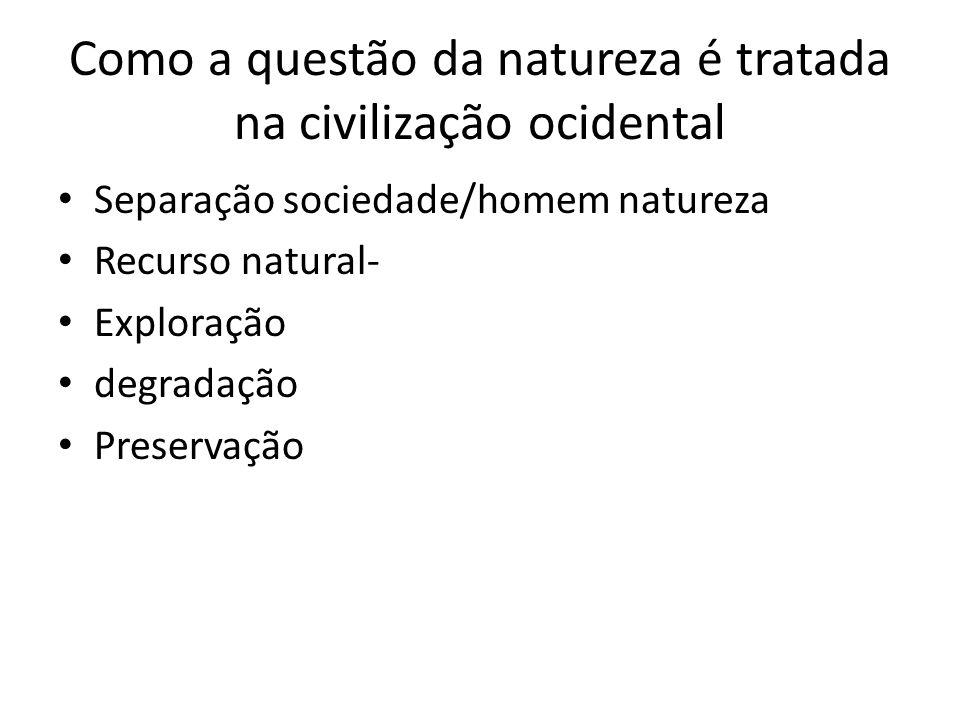 Como a questão da natureza é tratada na civilização ocidental