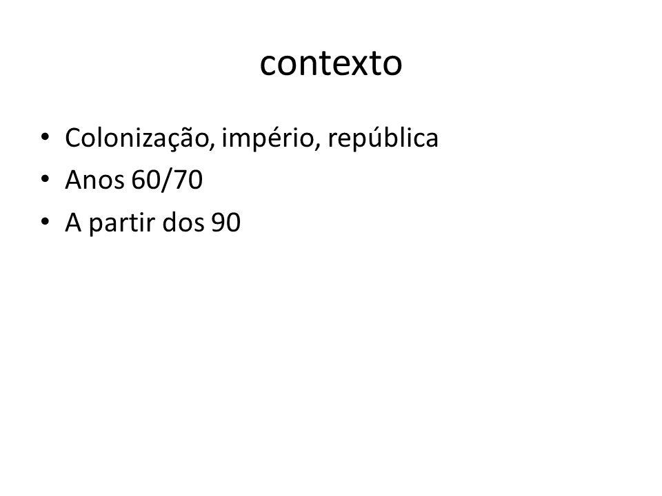 contexto Colonização, império, república Anos 60/70 A partir dos 90