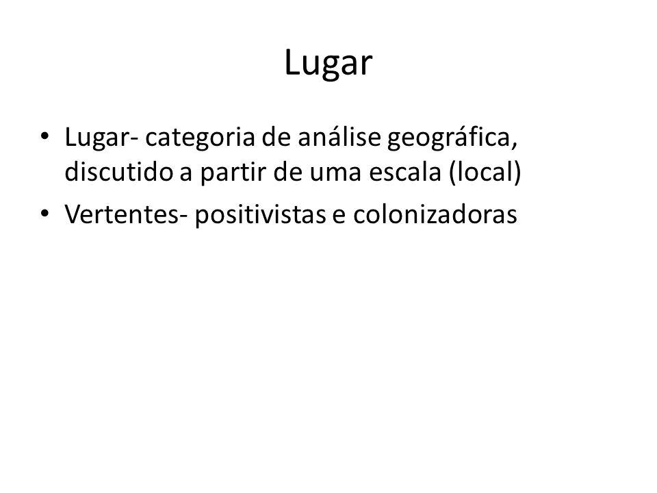Lugar Lugar- categoria de análise geográfica, discutido a partir de uma escala (local) Vertentes- positivistas e colonizadoras.