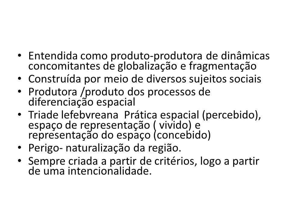 Entendida como produto-produtora de dinâmicas concomitantes de globalização e fragmentação