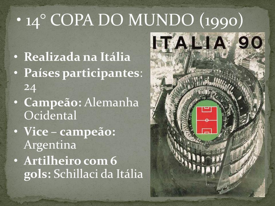 14° COPA DO MUNDO (1990) Realizada na Itália Países participantes: 24