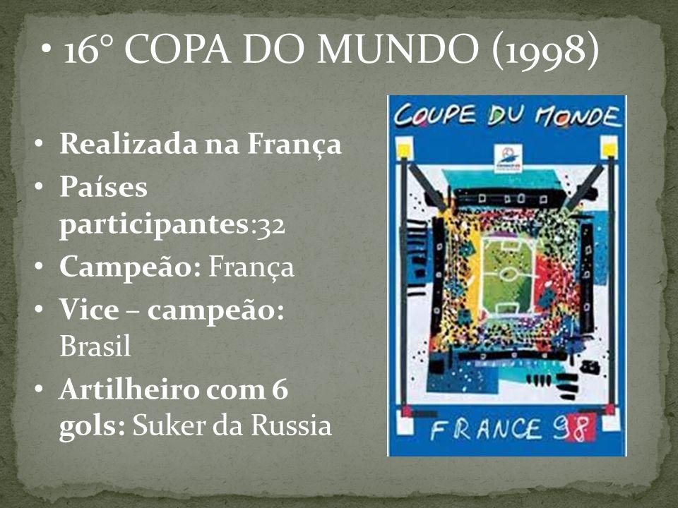 16° COPA DO MUNDO (1998) Realizada na França Países participantes:32