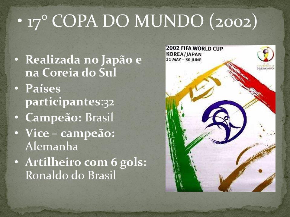 17° COPA DO MUNDO (2002) Realizada no Japão e na Coreia do Sul
