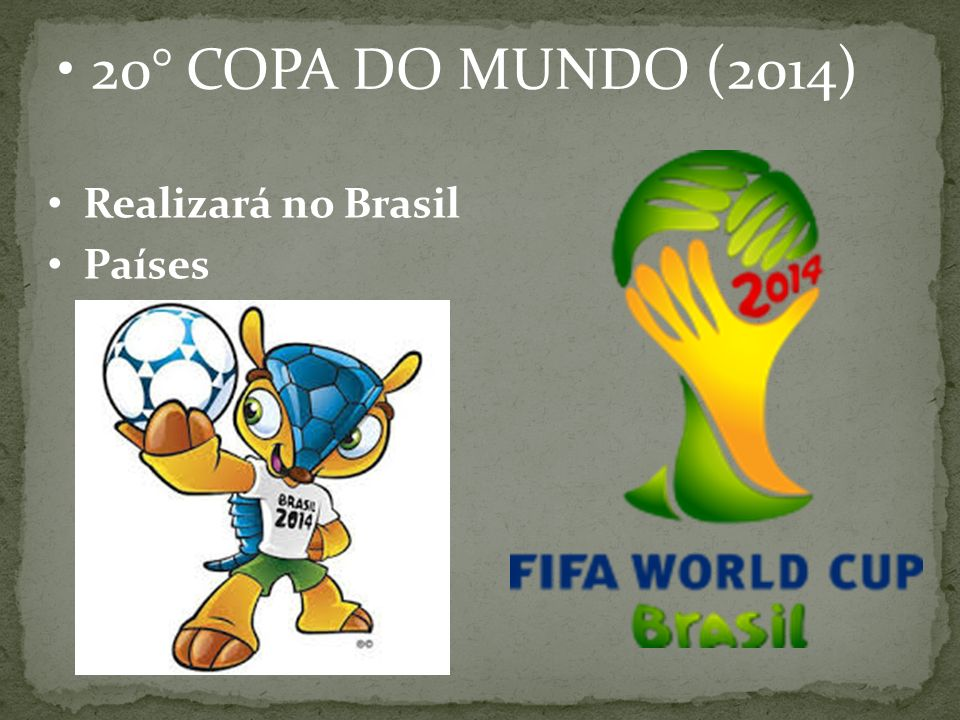 20° COPA DO MUNDO (2014) Realizará no Brasil Países participantes:32
