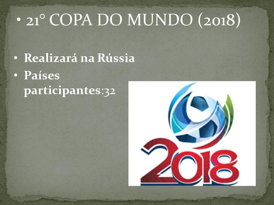 21° COPA DO MUNDO (2018) Realizará na Rússia Países participantes:32