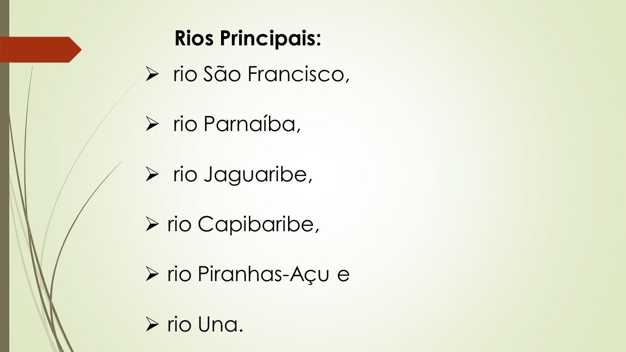 Rios Principais: rio São Francisco, rio Parnaíba, rio Jaguaribe, rio Capibaribe, rio Piranhas-Açu e.
