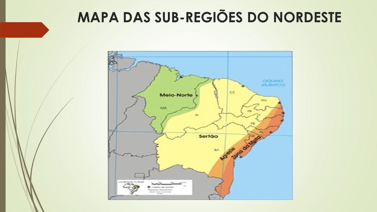 MAPA DAS SUB-REGIÕES DO NORDESTE