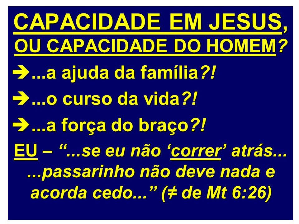CAPACIDADE EM JESUS, OU CAPACIDADE DO HOMEM