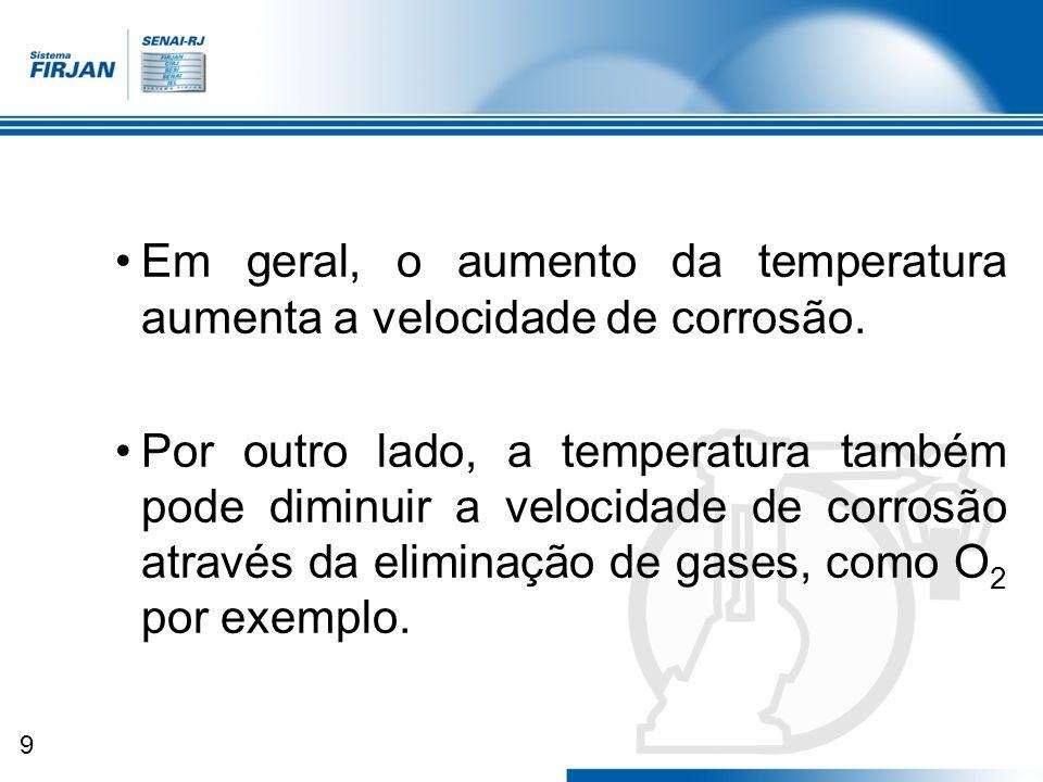 Em geral, o aumento da temperatura aumenta a velocidade de corrosão.