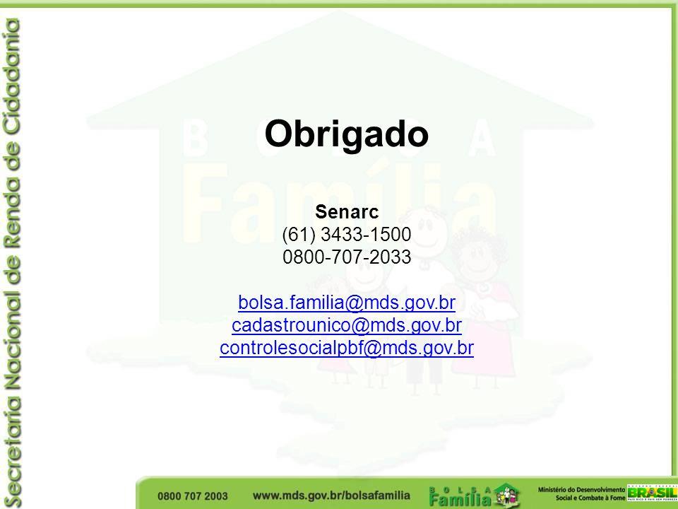 Obrigado Senarc (61) 3433-1500 0800-707-2033 bolsa.familia@mds.gov.br