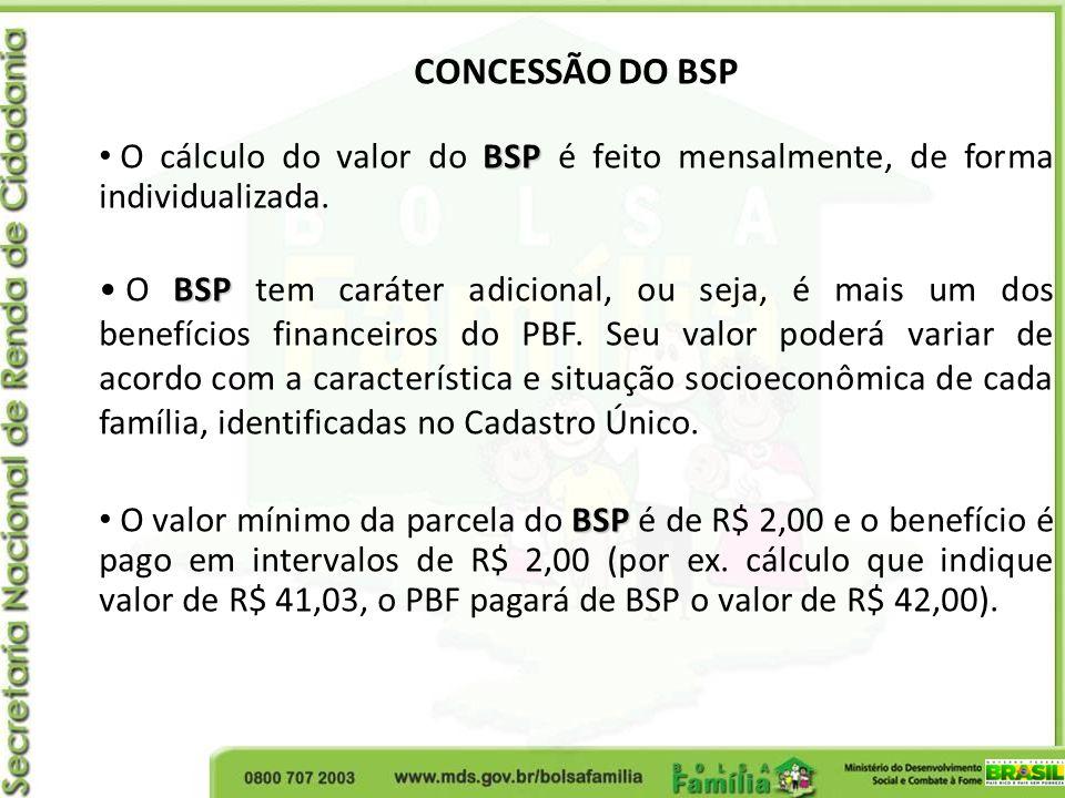 CONCESSÃO DO BSP O cálculo do valor do BSP é feito mensalmente, de forma individualizada.