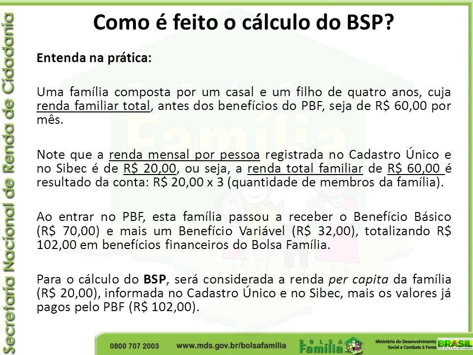 Como é feito o cálculo do BSP