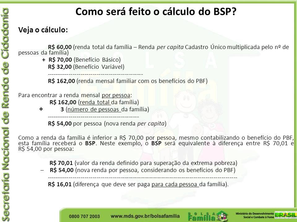 Como será feito o cálculo do BSP