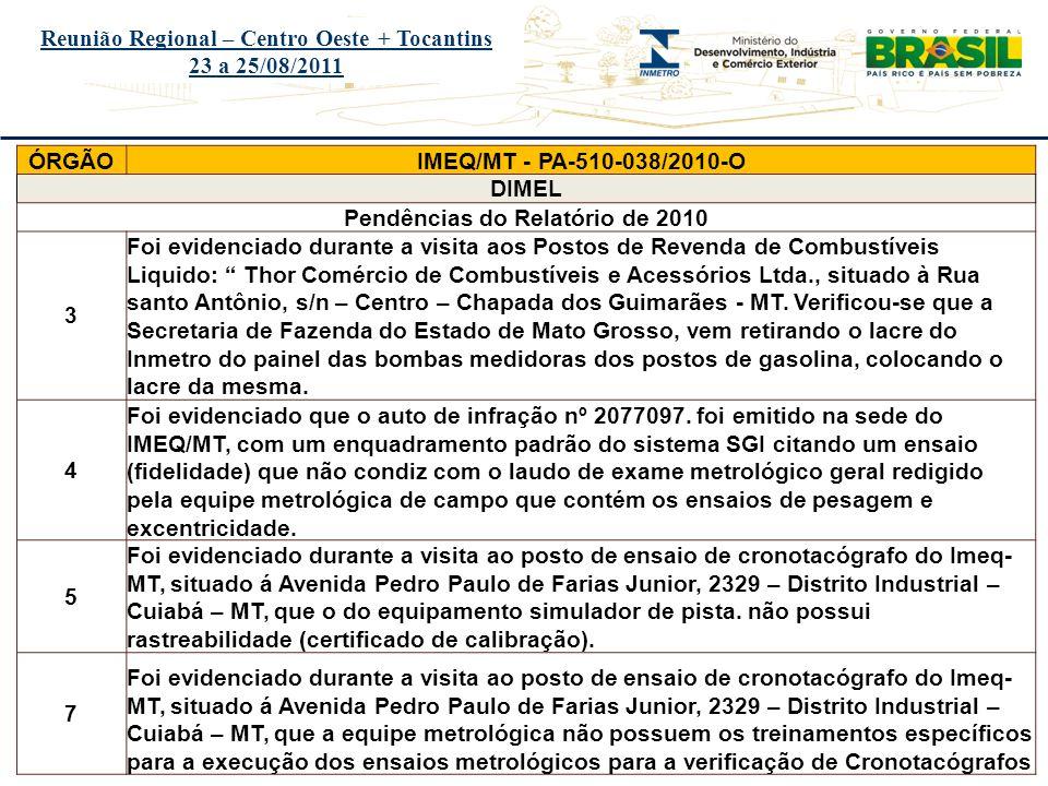 Reunião Regional – Centro Oeste + Tocantins 23 a 25/08/2011 ÓRGÃO