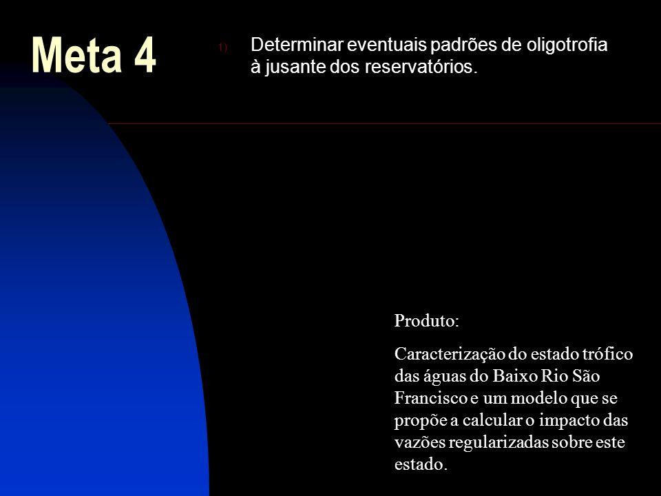 Meta 4 Determinar eventuais padrões de oligotrofia à jusante dos reservatórios. Produto: