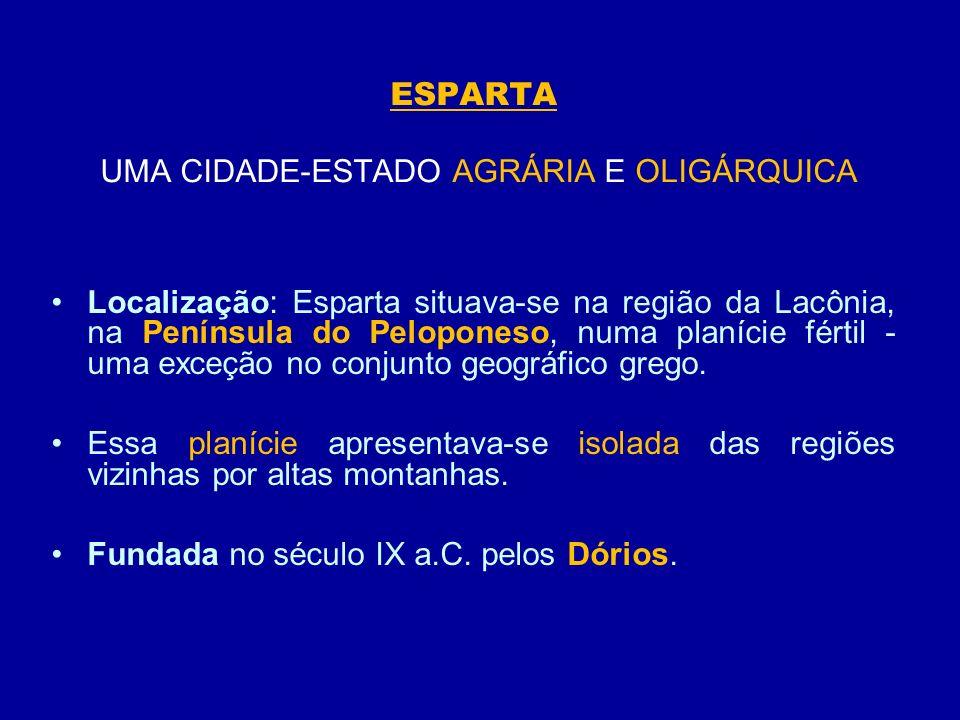 ESPARTA UMA CIDADE-ESTADO AGRÁRIA E OLIGÁRQUICA