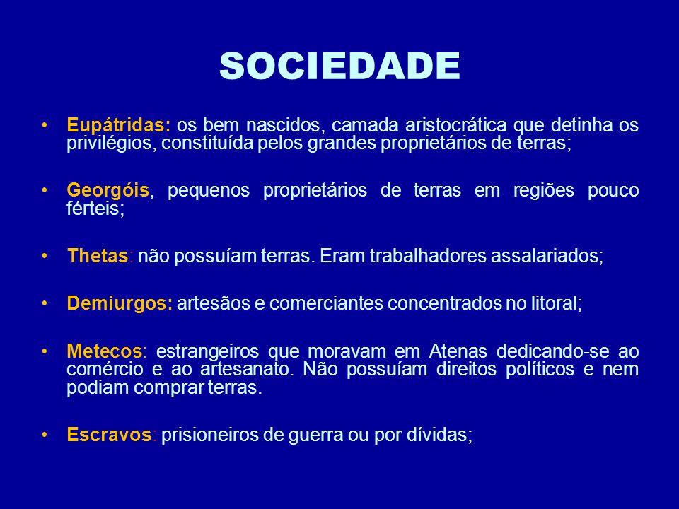 SOCIEDADE Eupátridas: os bem nascidos, camada aristocrática que detinha os privilégios, constituída pelos grandes proprietários de terras;