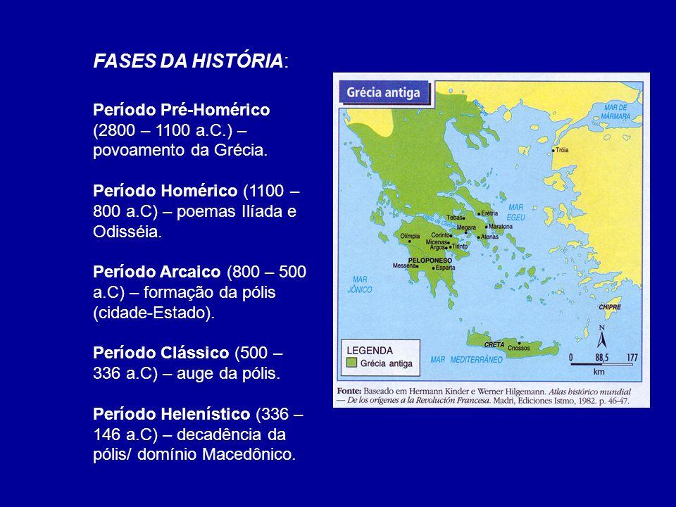 FASES DA HISTÓRIA:Período Pré-Homérico (2800 – 1100 a.C.) – povoamento da Grécia. Período Homérico (1100 – 800 a.C) – poemas Ilíada e Odisséia.