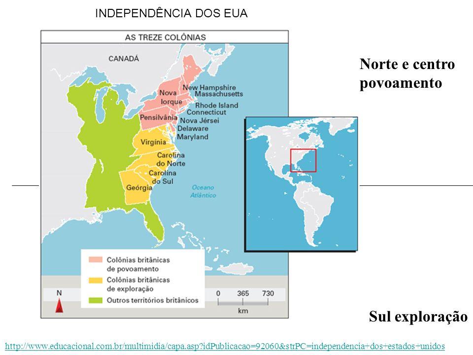 Norte e centro povoamento Sul exploração INDEPENDÊNCIA DOS EUA