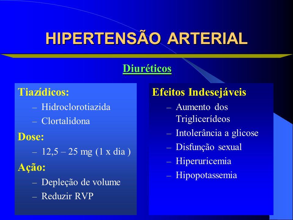 HIPERTENSÃO ARTERIAL Diuréticos Tiazídicos: Dose: Ação: