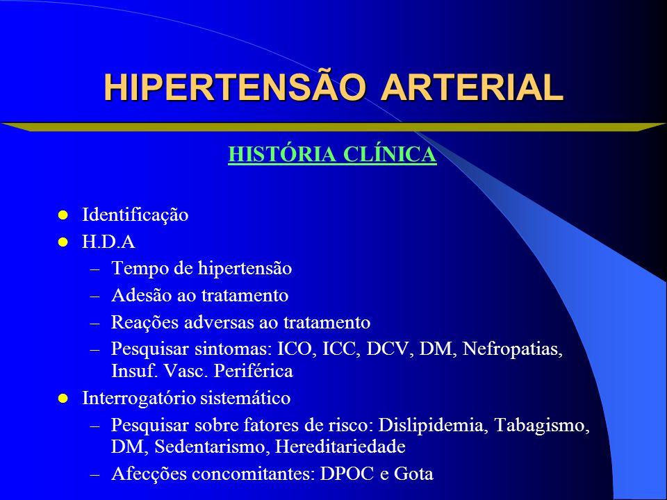 HIPERTENSÃO ARTERIAL HISTÓRIA CLÍNICA Identificação H.D.A