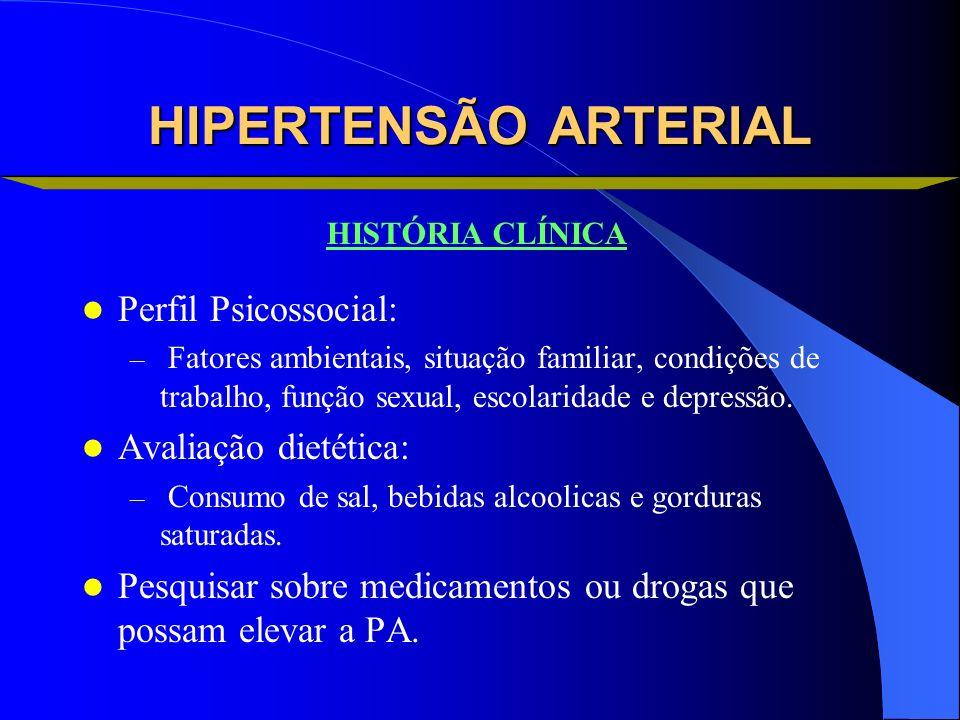 HIPERTENSÃO ARTERIAL Perfil Psicossocial: Avaliação dietética: