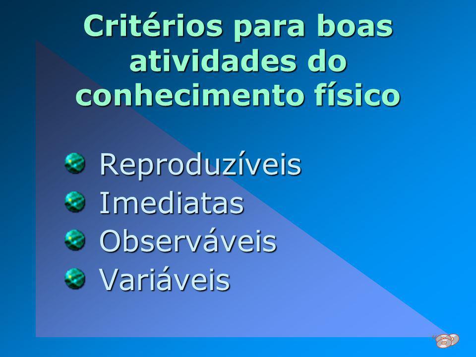 Critérios para boas atividades do conhecimento físico