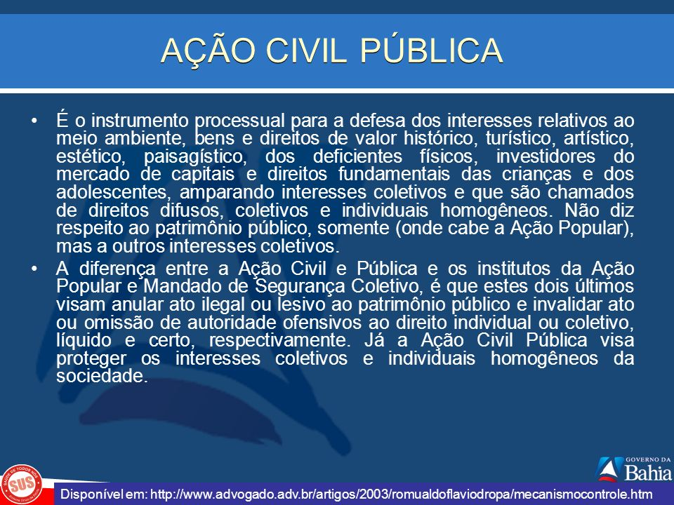 AÇÃO CIVIL PÚBLICA