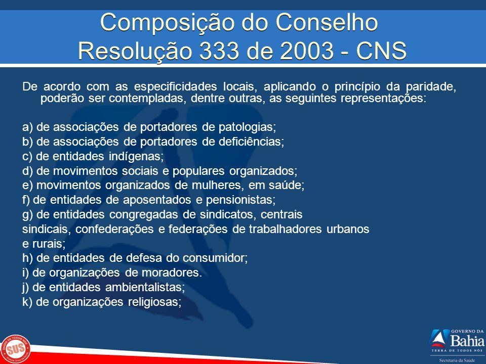 Composição do Conselho Resolução 333 de 2003 - CNS