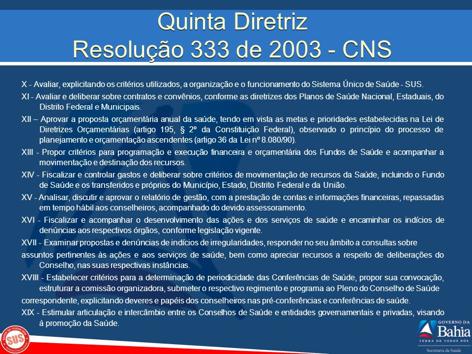 Quinta Diretriz Resolução 333 de 2003 - CNS