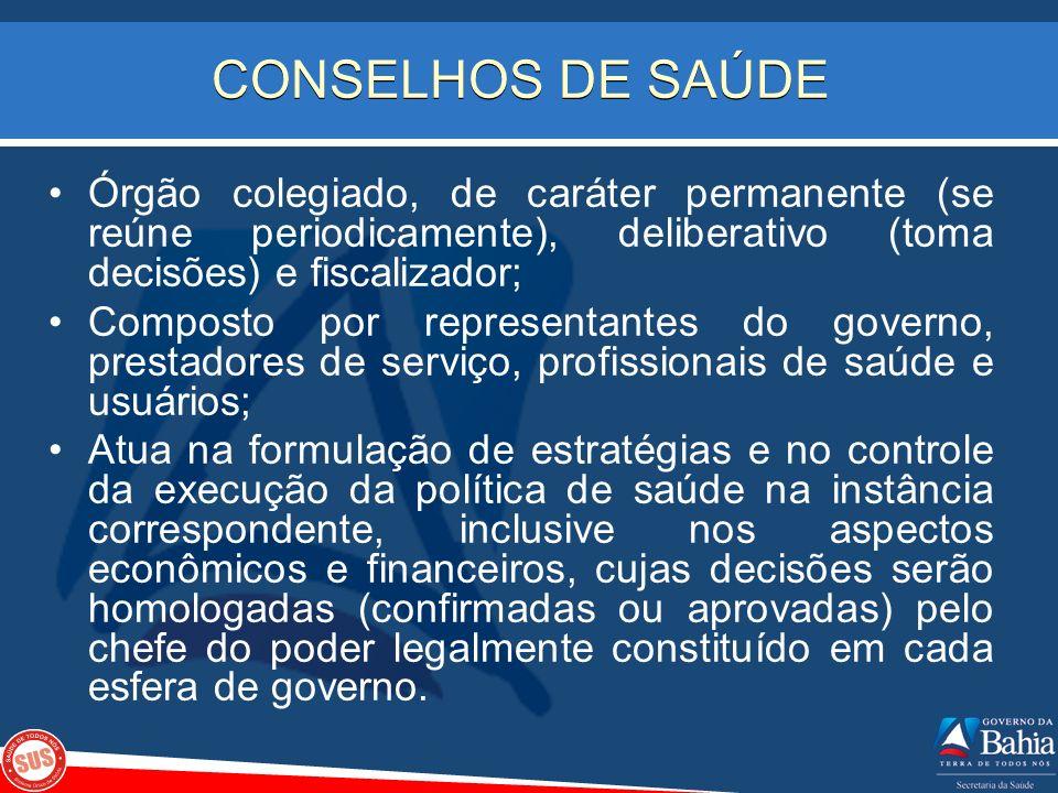 CONSELHOS DE SAÚDEÓrgão colegiado, de caráter permanente (se reúne periodicamente), deliberativo (toma decisões) e fiscalizador;