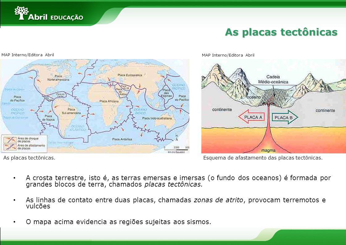 As placas tectônicasMAP Interno/Editora Abril. MAP Interno/Editora Abril. As placas tectônicas. Esquema de afastamento das placas tectônicas.