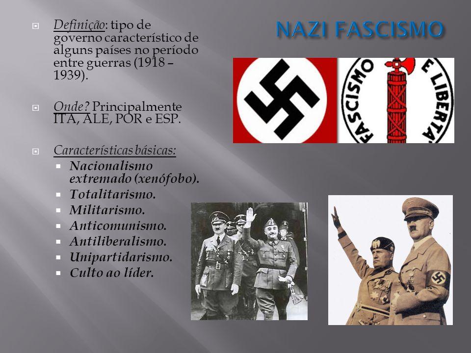 NAZI FASCISMO Definição: tipo de governo característico de alguns países no período entre guerras (1918 – 1939).