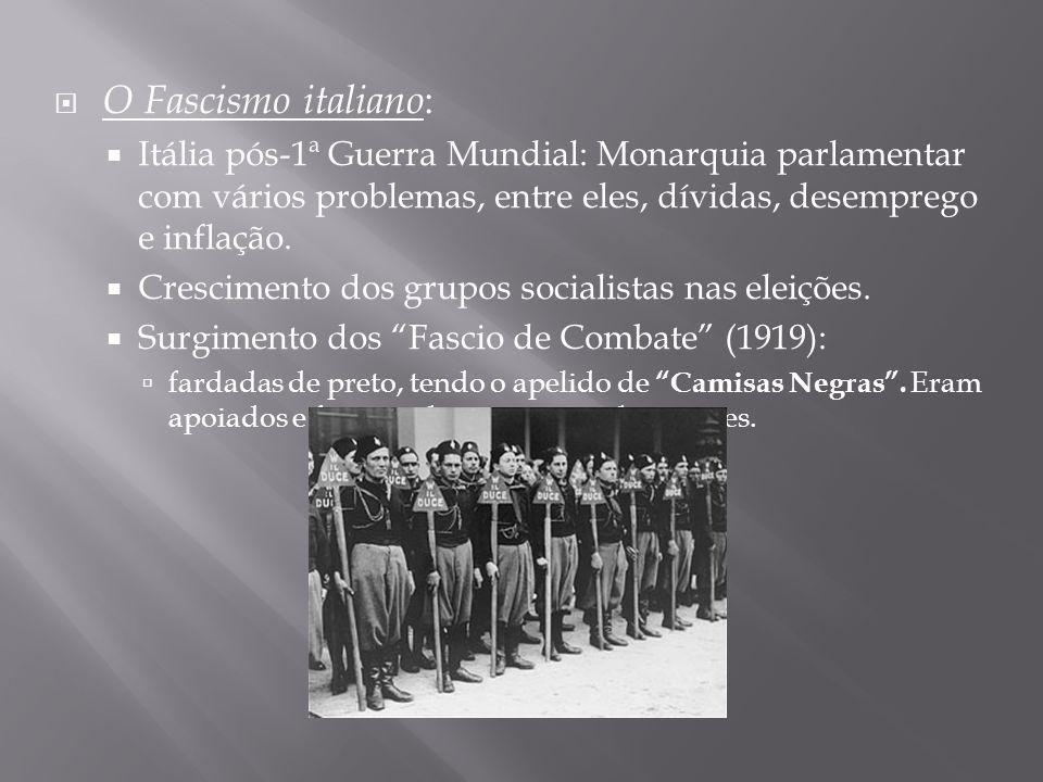O Fascismo italiano:Itália pós-1ª Guerra Mundial: Monarquia parlamentar com vários problemas, entre eles, dívidas, desemprego e inflação.