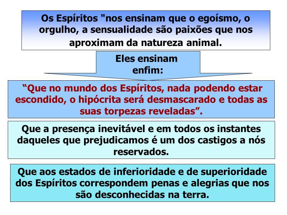 Os Espíritos nos ensinam que o egoísmo, o orgulho, a sensualidade são paixões que nos aproximam da natureza animal.