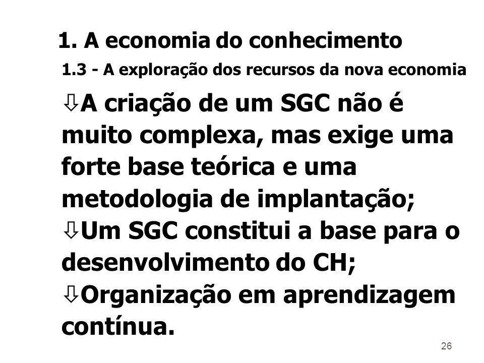 Um SGC constitui a base para o desenvolvimento do CH;