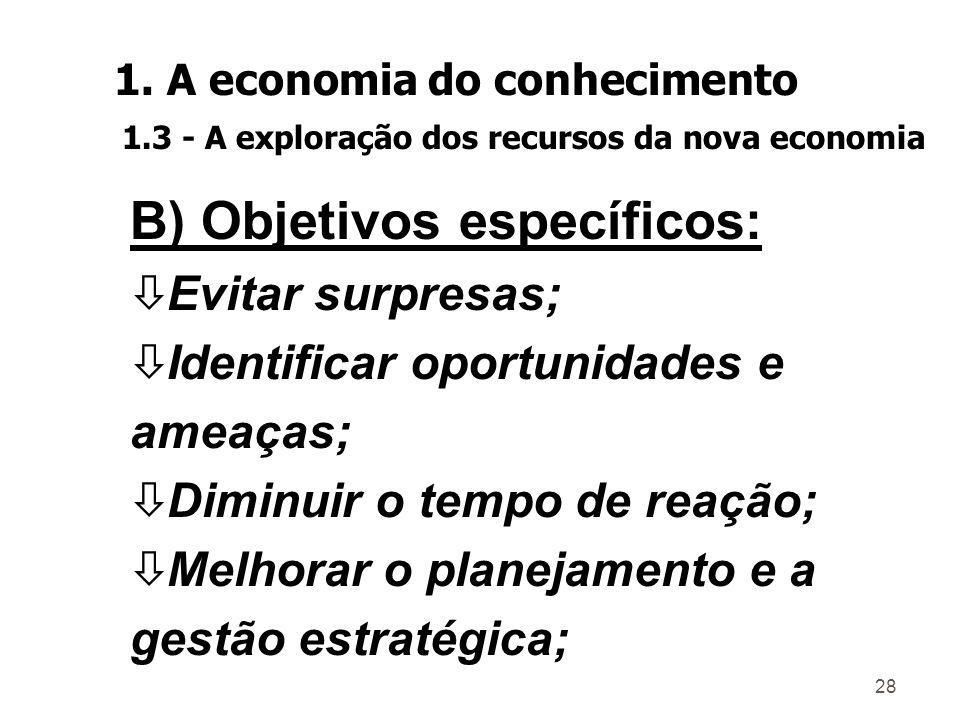 B) Objetivos específicos: