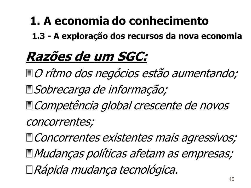 Razões de um SGC: 1. A economia do conhecimento