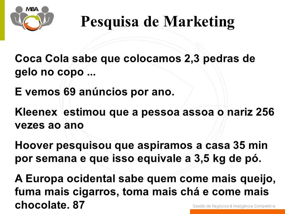 Pesquisa de Marketing Coca Cola sabe que colocamos 2,3 pedras de gelo no copo ... E vemos 69 anúncios por ano.